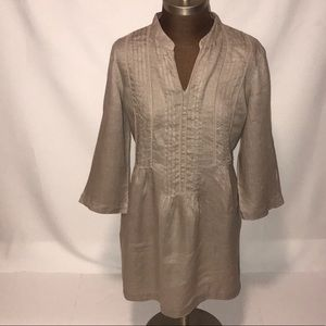 J Jill linen tunic with 3/4 sleeve in taupe.